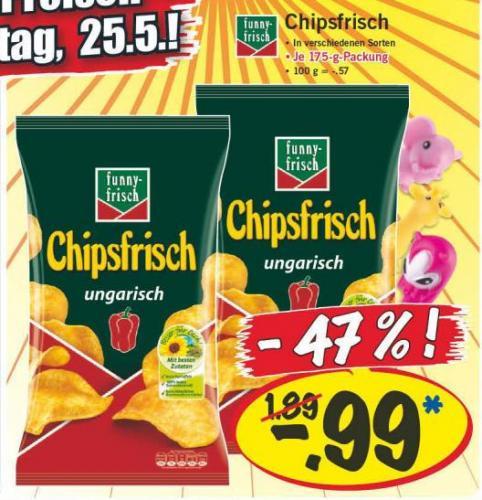 Tüte Chipsfrisch (verschiedene Sorten) 175g für 99 Cent am Lidl Supersamstag 25.Mai