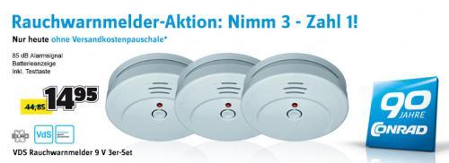 3 x ELRO VDS Rauchwarnmelder 9 V RM144C 85 dB @ Conrad.de für EUR 14,95