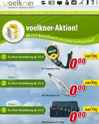 Einen von drei Gratisartikeln ab 25€ Bestellwert @Voelkner.de