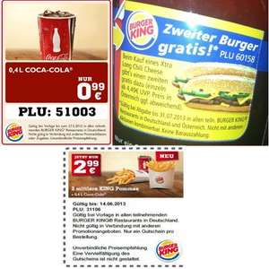 Burger King 2 Xtra Long Chili Cheese + 2 Cola 0,4l  + 2 mittlere Pommes für 8,47€