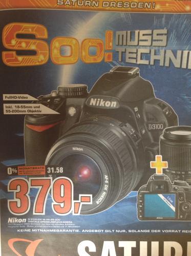 lokal Saturn Dresden: Nikon D3100 Digitale Spiegelreflexkamera + DX 18-55mm + 55-200mm Objektiv