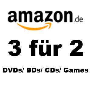 Amazon zieht mit bei der MediaMarkt 3für2-Aktion (Filme/Games/CDs)