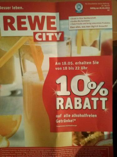 10% Rabatt auf alle alkoholfreien Getränke bei Rewe City nur heute von 18-22 Uhr