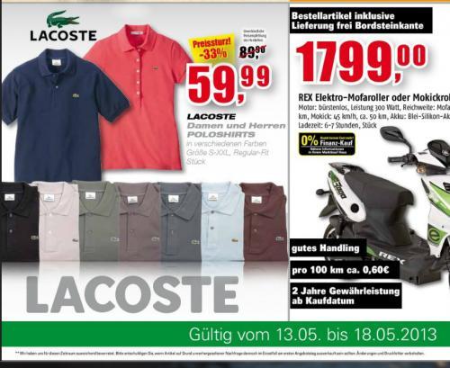 Marktkauf Lacoste Poloshorts 59,99 Eur - nur noch heute!