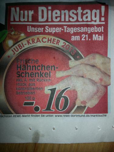 1 Kilo Hähnchenschenkel für 1,60 Euro bei Edeka nur am Dienstag den 21. Mai