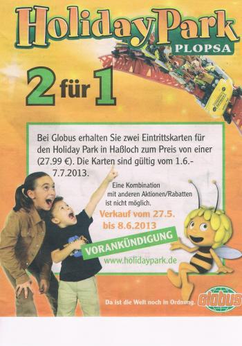 [Lokal Globus Bobenheim?]HolidayPark Haßloch 2 für 1