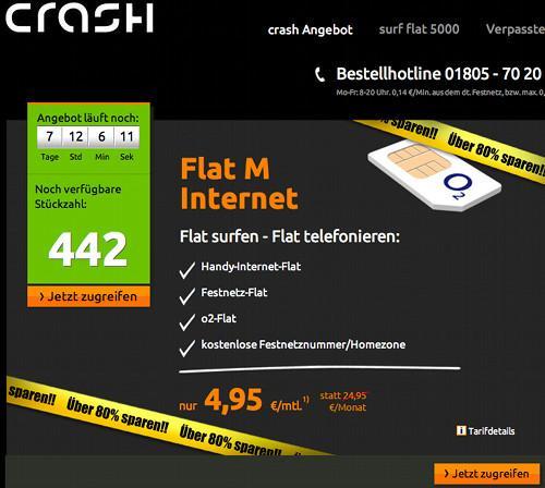 Flat M Internet: O2-Tarif für 4,95 Euro pro Monat