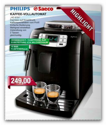 Marktkauf: Philips Saeco HD8751 Kaffee-Vollautomat für 249,00 HotDeal
