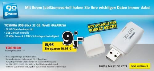 Conrad.de  Toshiba 32 Gb USB Stick  für 9€
