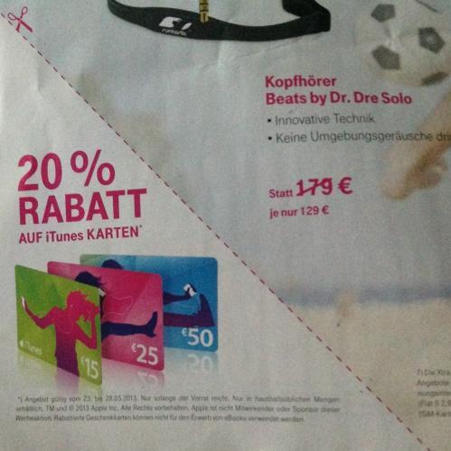 20% Rabatt auf iTunes Karten - Telekom Shop Bundesweit