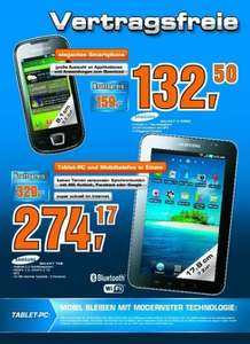 [Österreich Saturn] Samsung Galaxy Tab 3G GT-P1000CWADBT für 329,00 EUR