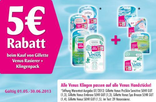 5€ Rabatt beim Kauf von 1 Venus Rasierer + 1 Klingenpack