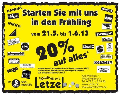 20% auf alles* @ Spielwaren Letzel [lokal HN]