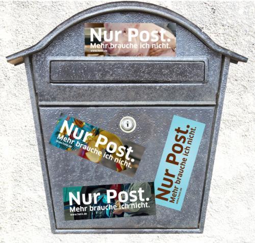 """Nur Post""-Aufkleberset (gegen Werbung) - Facebook-Aktion Fonic"