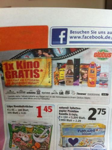 [lokal ?] Globus Dutenhofen 6 Schwarzkopf & Henkel Artikel = 1 Kinokarte