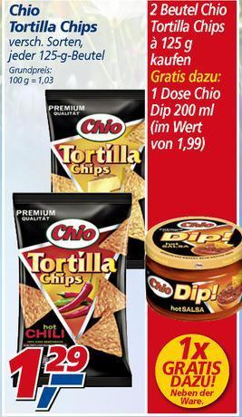 2x Chio Tortilla kaufen und ein Dip im Wert von 1,99 gratis bei REAL