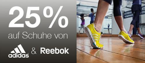 """""""25% auf Schuhe von Adidas & Reebok"""" + 15% Rabatt auf Nike / Adidas / Reebok (nichtreduziert)"""