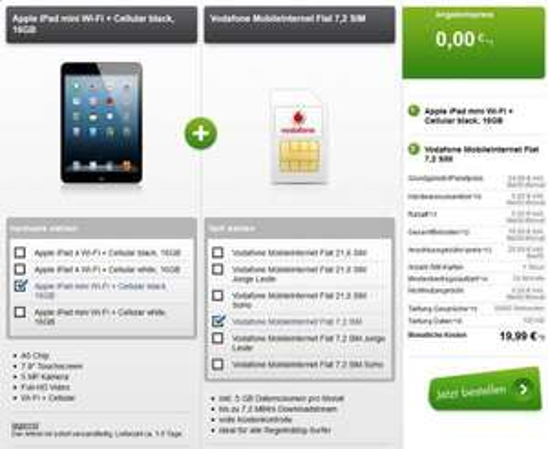 iPad mini Wifi+4G mit Vodafone 5GB Internet-Flat effektiv nur 21,24€ monatlich [modeo.de]