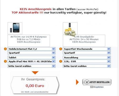 Apple iPad Mini WiFi + 4G 16GB mit Vodafone 5GB Daten und WE-Flat-Vertrag, eff. für 14,94€ im Monat