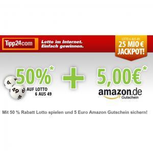 Wieder da: Tipp24 - 50% Rabatt für alle + € 5 Amazon Gutschein für Neukunden