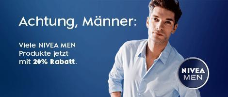 20% Rabatt beim Kauf von NIVEA Men Produkten im Wert von 15€ @amazon.de