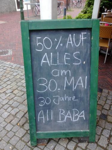 [Lokal Emden] 50% auf alle Speisen und Getränke bei Alibaba am 30.05.13