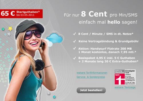 4,95€ zahlen - 65€ Startguthaben bekommen - bei hellomobil