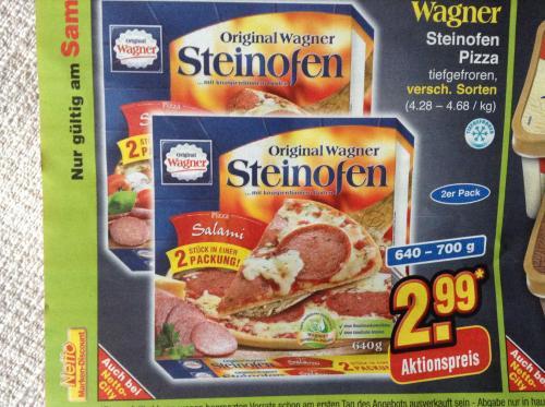 2 Original Wagner Steinofen Pizza für 2,99 Euro bei Netto