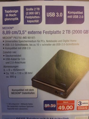 """"""" LOKAL """" 2 TB 3,5""""externe Festplatte USB 3.0 für 49 Euro bei Aldi HH Tonndorfer Hauptstraße. 28"""