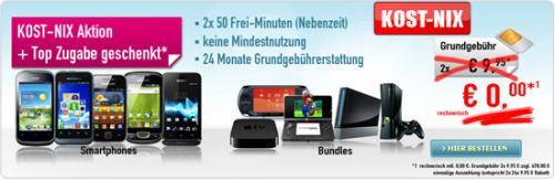 Kost NIX Aktion mit 478,- EUR Auszahlung und Handys mit 0,-EUR Zuzahlung oder Nintendo Wii für 39,- EUR Zuzahlung