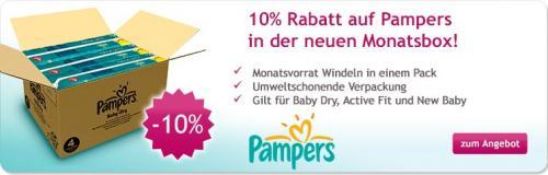 [windeln.de] 10% auf Pampers Monatspacks 174Stck - 10€ Neukundenbonus = ca. 0,20€ je Windel