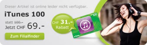 [Schweiz] 100 CHF iTunes Karte für 69 CHF