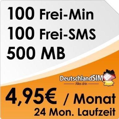 DeutschlandSim O2 ALL-IN 100 - 500MB Daten Flat, 100 Frei-Minuten, 100 Frei-SMS