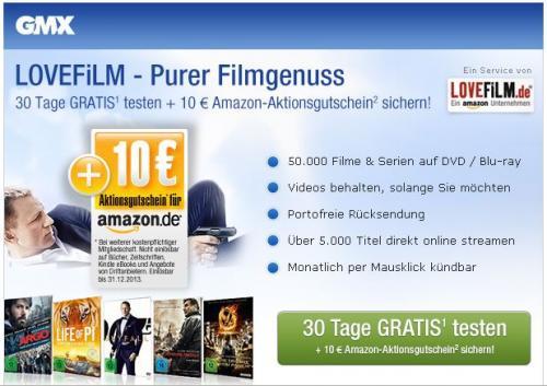 Lovefilm Gratis Testen mit 5,01 Euro Gewinn in Form eines Amazon Gutscheines