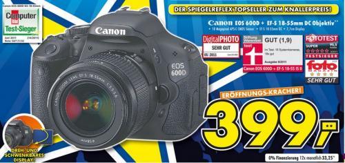 [Lokal Ulm Euronics] Canon EOS 600D + EF-S 18-55mm DC Objektiv