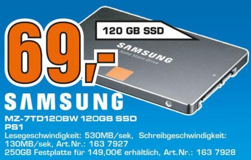 "Samsung™ - 120GB SSD 840 Series ""Basic"" (MZ-7TD120BW) für €69.- [@Saturn Kiel]"