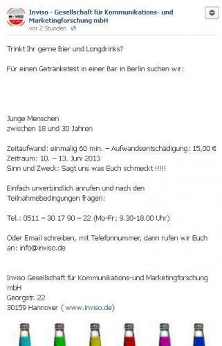 Getränketester/in in Berlin - Bier und Longdrinks (10.-13.06.2013)