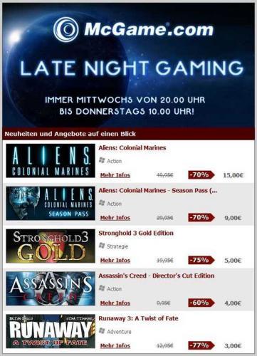 Ab 20 Uhr: Late Night Gaming @ McGame.com