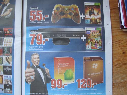 XBOX 360 Kinect+Kinect Adventures! für 79 Euro in Saturn München