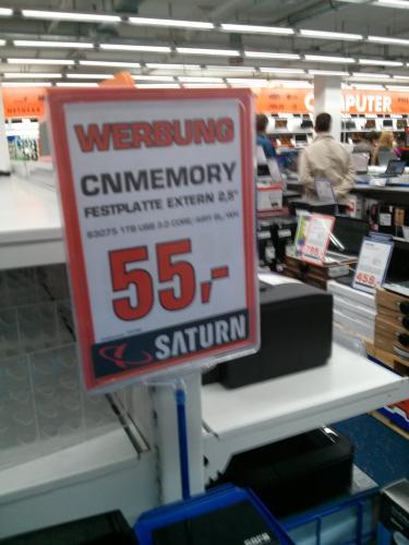"(lokal - Saturn Hattingen) CN Memory 1 TB 2,5"" USB 3.0 für 55,- Euro"