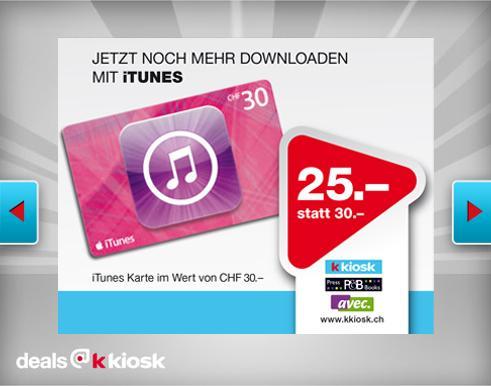 [Schweiz] 30 CHF iTunes-Karte für 25 CHF bei k kiosk