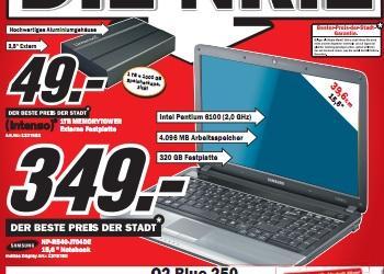 """Media Markt Lahr: Samsung R540 (15"""" matt P6100 4GB 320GB 5470 512MB) für 349€ und Panasonic TX-P42GW20 für 699€"""