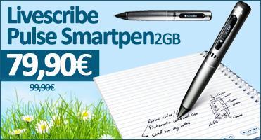 Livescribe Pulse Smartpen 2GB 79,90€ + Pulse Smartpen 4GB 99,90€ + Echo Smartpen 4GB inkl. 4 A4-Blöcke und Livescribe Sticky Notes 159,90€