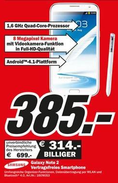 Samsung Galaxy Note 2 - Lokal - MM für 385 €