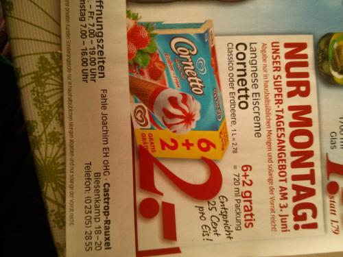 (Rewe Dortmund) Langnese Eiscreme Cornetto 6+2 Packung für 2€(Pro Stück 25 Cent) Nur am Montag