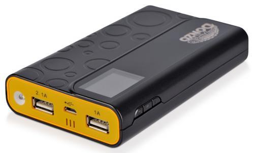 -40% bei Amazon - Powerbank 11200mAh Li-Polymer Akku - Display mit Datum - Uhrzeit - Temperatur und Akkustandsanzeige - schwarz