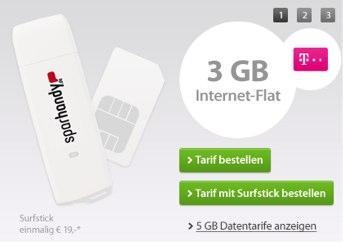 UMTS Flatrate 3GB für 4,44€,  5GB für 6,66€/Monat