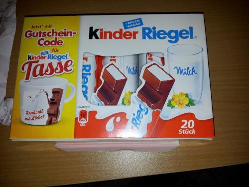 Kinder Riegel 20 Stk. + Gutscheincode für Kinder Riegel Tasse @ Rewe