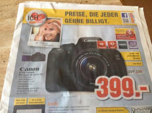 (Lokal) Canon Eos 600D mit 18-55 DC Kit @Medimax Eisenach,BadSalzungen,Schmalkalden