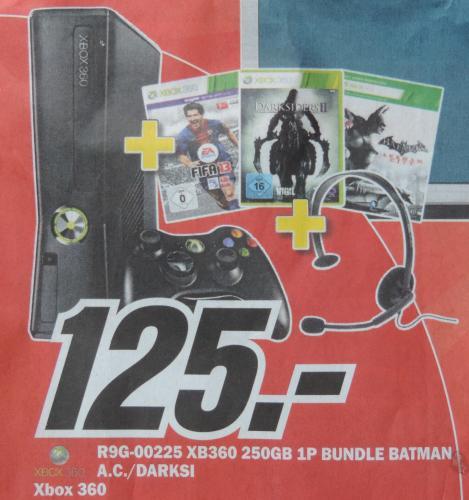 Xbox 360 250GB + Fifa 13, Darksiders 2,  Batman Arkham City + Headset für 125€ im Media Markt Landsberg am Lech